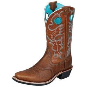 Ariat Heritage Western Boots Chocolate w/Turq. 7.5